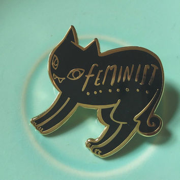 Black Cat Feminist Enamel Pin