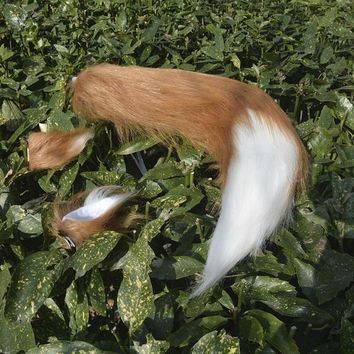2017 free shipping Japan Anime Spice and Wolf Holo fox ears & tail 65cm plush cosplay Costumes prop  Handmade