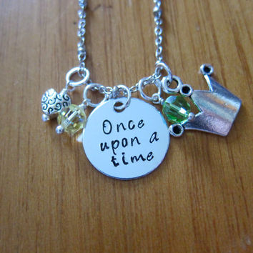 "Disney Inspired Princess Tiana Necklace. ""Once Upon A Time"". Princess And The Frog. Silver colored, Hand Stamped, Swarovski crystals."