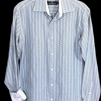 Bugatchi Uomo Blue Striped Floral Contrast Flip Cuff Button Shirt Mens Small S - Preowned