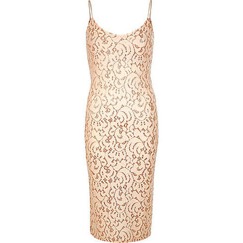 Light pink glitter lace cami dress