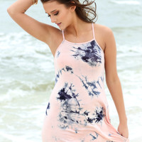 Boca Raton Peach And Navy Tie Dye Tank Dress