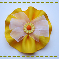 Yellow Flower Hair Clip, Yellow Flower Hair Bow, Sunflower Hair Clip, Girls Accessories