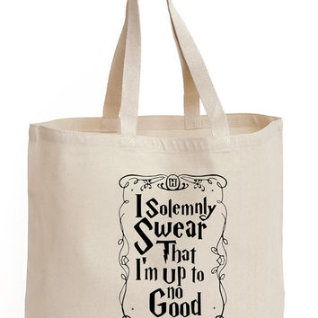 i Solemnly swear that i'm up to no good Cotton Tote shopping  office school book Bag harry potter Printed Fan art