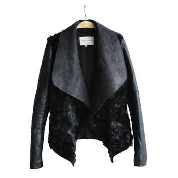 2016 TOP Quilted Women's Leather Jacket Fur Coat Slim Short PU Leather Jacket Women Black