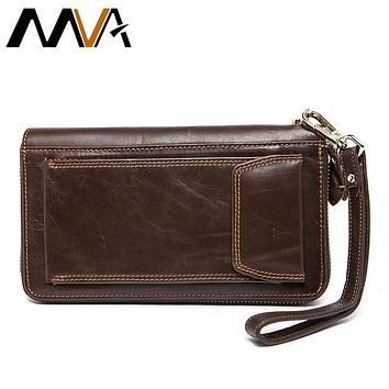 MVA Men Wallets Clutch Mens Wallet Genuine Leather Wallets with Coin Purse Large Male Clucth Purse Bag Cell Phone Leather Wallet