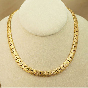 Sarah Coventry Herringbone Link Necklace Designer Signed Gold Tone Vintage