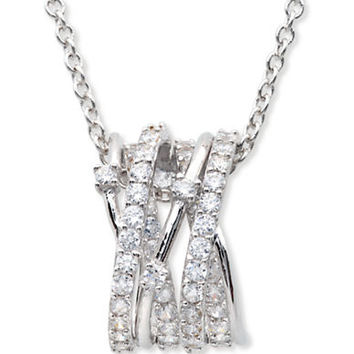 Crislu Platinum and Cubic Zirconia Entwined Pendant Necklace