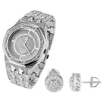Fully Iced out Custom Men's Presidential Style Techno Pave Watch & Cluster Earrings Combo