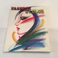 Fashion and Color Illustration Vintage Book Drawing 1980s Color Sewing Designer Design Tailor Clothing Womens