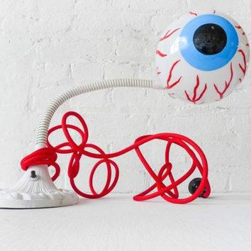 Eye See You   Vintage Industrial Neon Glow Gooseneck Lamp   Antique Cast Iron Table Light   Blood Red Cloth Color Cord   Eye Ball Bulb
