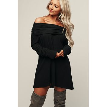 Up Town Girl Cowl Neck Tunic (Black)