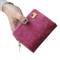 8.5*10.5*3cm 7 Colors Women Clutch Change Coin Bag New Women Purse Mini Ladies Handbag Women Short small frosted leather Wallets