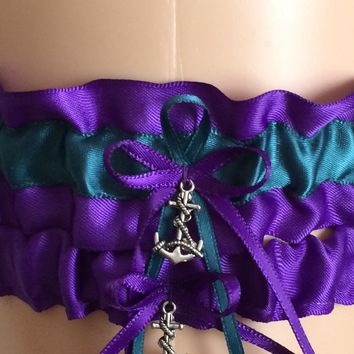 Purple Haze and Teal Wedding Garter Set, Bridal Garter Sets, Prom Garter, Keepsake Garter, Engagement, Bridal Shower Gift