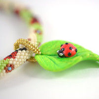 """Bead Crochet Necklace  """"Ladybug""""  White  Green  Red  Spring  Polymer clay  Beadwork Jewelry  Free shipping  Boho Hippie"""
