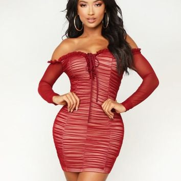 Fashion New Solid Color Strapless Long Sleeve Dress Women Wine Red