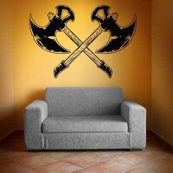 Vinyl Wall Decal Sticker Battle Axes #1328