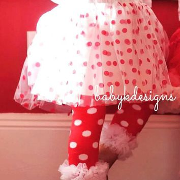 Baby Girls Polka Dot Red White Chiffon Ruffle Legwarmers Leg Warmer ADD a Bow Set. Halloween Costume Prop Birthday Dance Dots Minnie Mouse