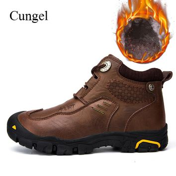 Cungel Outdoor men Hiking shoes Winter Trekking First layer cowhide Leather boots Warm plush Anti-skid Mountain climbing boots