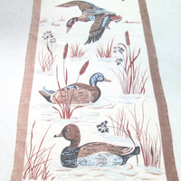 Linen Towel Wild Ducks in Brown by Dewan