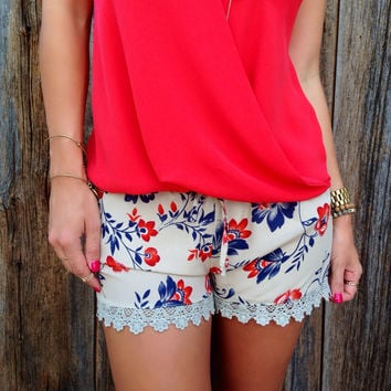 Silk Floral Print Shorts - FINAL SALE