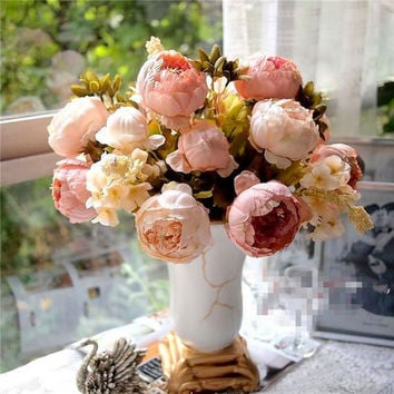 1pc  European Peony Artificial Silk Flowers 1 Bouquet  Fall Vivid Peony Fake Leaf Wedding Home Party Decoration High Quality