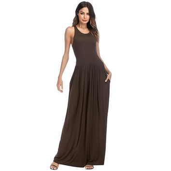 Women Dress Solid Round Neck Sleeveless Racer Back High Waist Pleated Pockets Maxi Gown Casual One-Piece