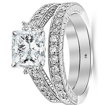 .1.53 Ctw 14K White Gold GIA Certified Princess Cut Three Stone Vintage with Milgrain & Filigree Bridal Set with Wedding Band & Diamond Engagement Ring, 0.5 Ct I-J VS1-VS2 Center