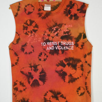 90s DARE Shirt Tie Dye Sleeveless Small Soft Grunge Hipster Womens Mens Vintage Clothing Handmade Unique Red Orange yellow Black Tank