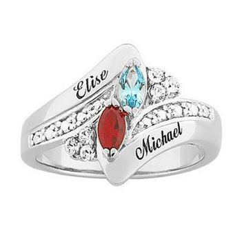 Sterling Silver Couple's Simulated Marquise Birthstone Ring with Crystal Accents (2 Stones and Names)