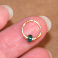 Small Nose Ring, Green Beaded Nose Ring, Hoop Earring, Cartilage Hoop, Endless Hoop, Seamless Hoop, Piercing Jewelry, Hoop
