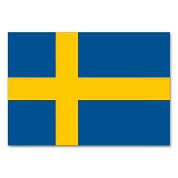 Patriotic table card with Flag of Sweden