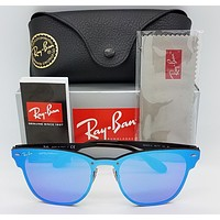 NEW Rayban Blaze Clubmaster Sunglasses RB3576N 153/7V 47 Violet Blue Mirror club