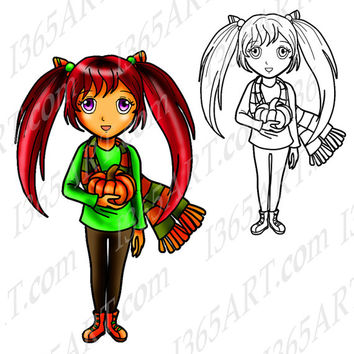 Digital Stamp, Coloring Page Line Art Illustration and Clipart, Fall Autumn Girl October Halloween Pumpkin Anime Chibi 8 x 10.2 Download