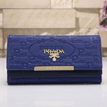 PEAPJ3V PRADA Women Fashion Leather Shopping Wallet Purse-2