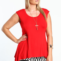 PLUS SIZE FLARED JERSEY TOP