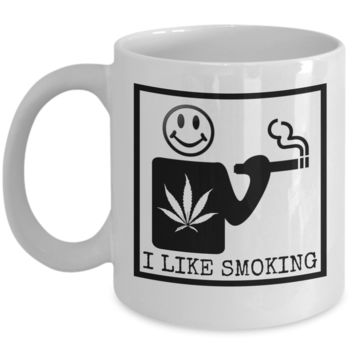 I Like Smoking Coffee Mug - Black SQ (Front Only)