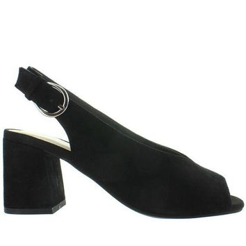 CREYONIG Seychelles Playwright - Black Suede Sling-Back Sandal