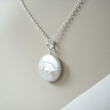 Coin Pearl Necklace - Single Bridesmaid Pearl Pendant Necklace on Silver Chain