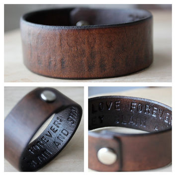 Hidden Message Mens Leather Wrist Cuff- Bracelet- Choose Your Text and Color- Father- Dad- Boyfriend- Groomsmen- Husband- Friend