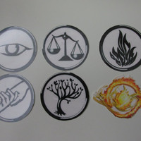 The Factions - Set of 6 Temporary Tattoos Inspired by Veronica Roth's Divergent Saga