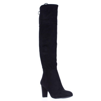 I. Hadli Fringe Tie Pull On Over The Knee Boots - Black