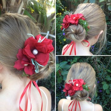 Flower crown,red bun wrap,Red flower crown,bun wreath,Wedding crown, hair wreath,Red headpiece,Woodland crown,boho crown,red wedding,etsy
