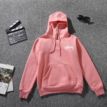 Stussy Long Sleeve Letters Hooded Male And Female Couple Sweater