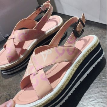 GUCCI Summer new women's fashionable shoes thick toe letter print sandals Pink