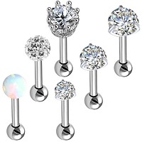 BodyJ4You 6PC Tragus Earrings Cartilage Studs 16G Daith Clear CZ Crystals Steel Barbell Piercing