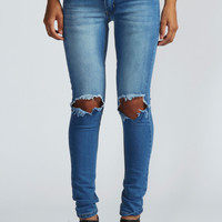 Izzie Open Knee Skinny Rigid Jeans