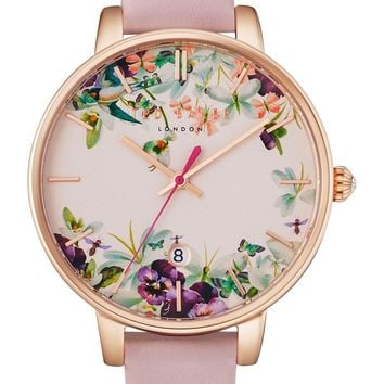 Ted Baker London Round Leather Strap Watch, 38mm | Nordstrom
