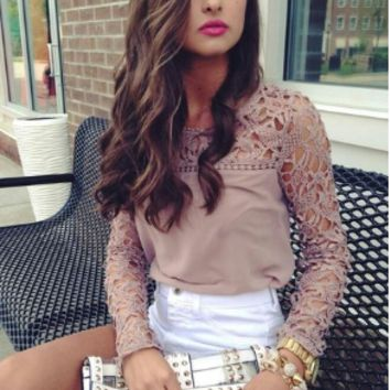 Cutout Lace Long Sleeve Chiffon Blouse