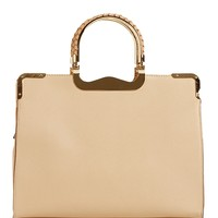Beige Metal Handle Satchel